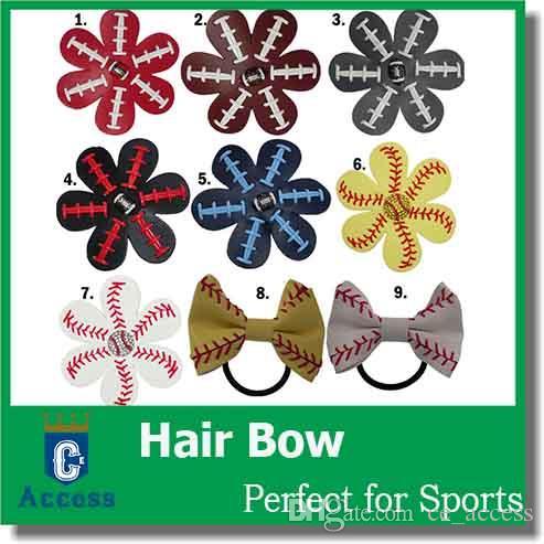 Softball/Baseball/football Hair Bows - Team Order - Bulk Listing (REAL BALL) - You Choose Colors 9 color