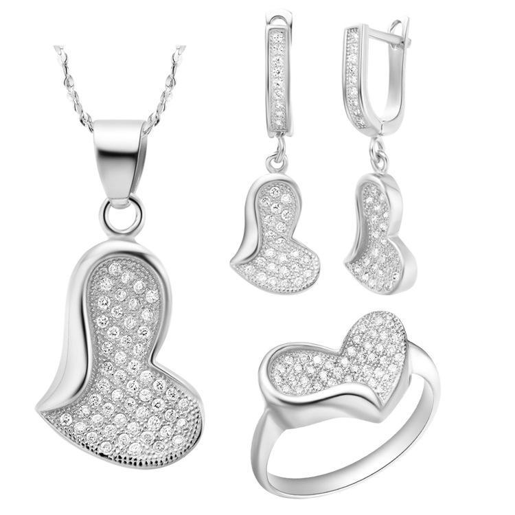 NUOVO set di abiti in argento sterling 925 con serie di gioielli di alta gamma europea e americana in cristallo austriaco
