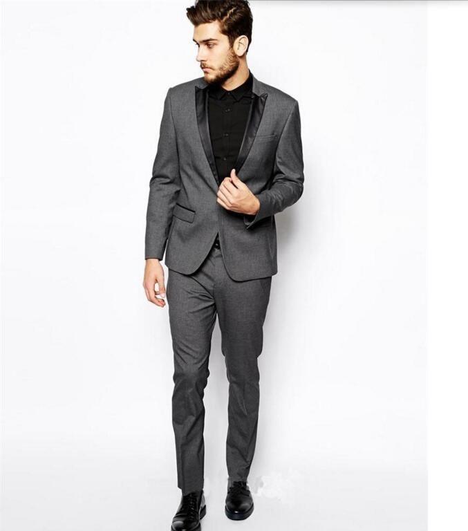 Abiti da uomo su misura Smoking dello sposo Abiti da uomo grigio chiaro Risvolto Prom Mens Sposo abiti da uomo (giacca + pantaloni)