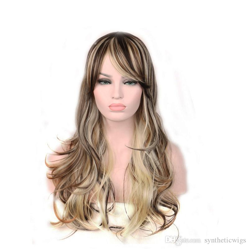 WoodFestival Blonde Ombre Wig Curly Long Synthetic Hair Fashion Natural Wigs Fiber Brown Mixed Color For White Women