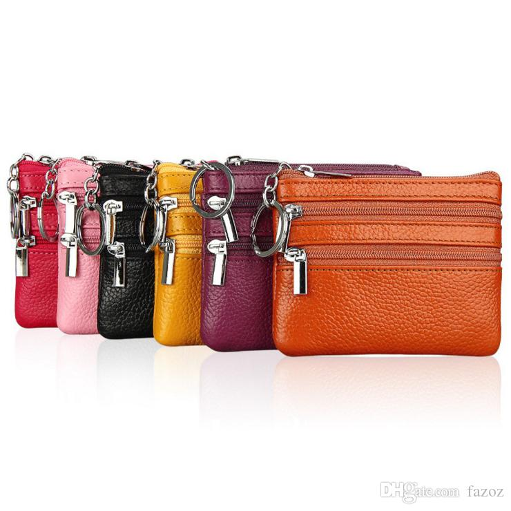 High Quality Unisex Genuine Leather Small Wallet Ladies Coin Purse Mini Change Bag Keys Card Portable Storage Pouch For Women Factory Supply