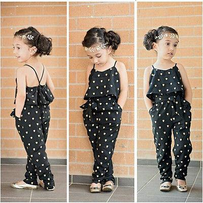 Wholesale- 2016 Hot-Selling Baby Kids Girls One-piece Sleeveless Heart Dots Bib Playsuit Jumpsuit T-shirt Pants Outfit Clothes 2-7Y
