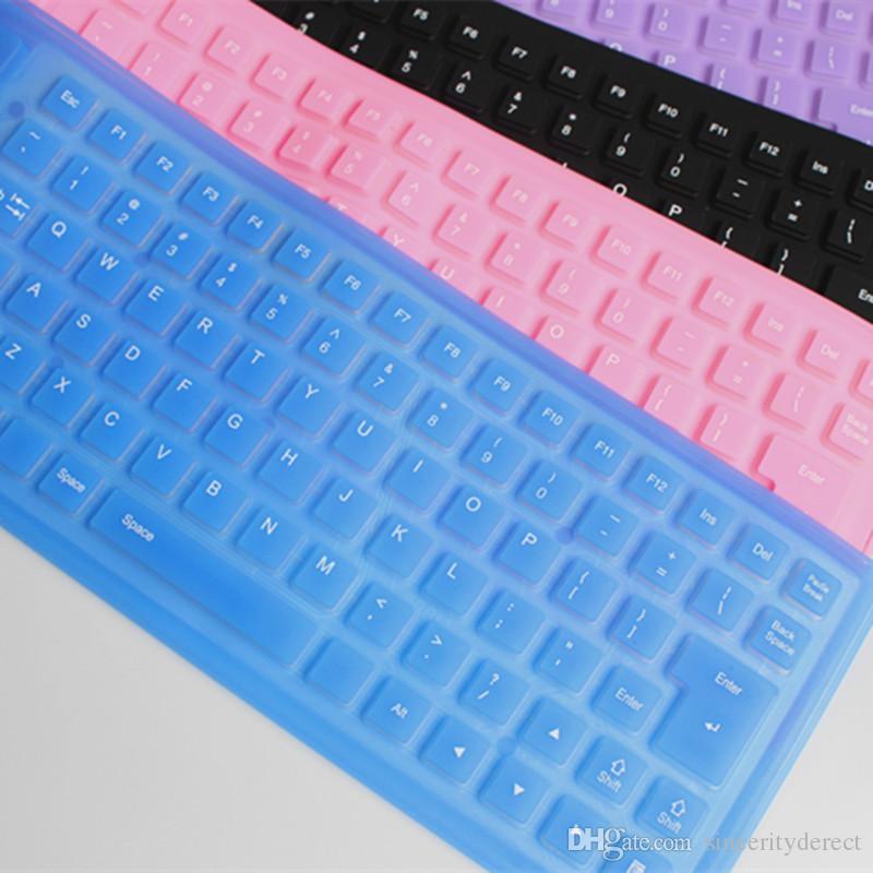 طوي السلكية usb سيليكون مرنة لوحة المفاتيح للماء لينة التراكم صامت ضغط المفاتيح المطاط 85 مفاتيح للكمبيوتر محمول مفكرة