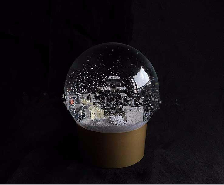 NEW! Golden Snow Globe With Perfume Bottle Inside 2016 Snow Crystal Ball for Special Birthday Novelty Christmas VIP Gift