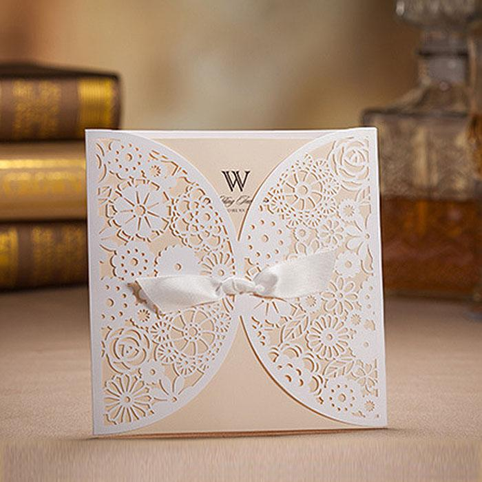Wholesale White Laser Design Classic Wedding Invitation Cards