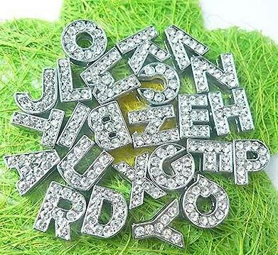 260pcs/lot 8mm A-Z full rhinestones bling slide letter DIY accessories fit for 8MM leather wristband bracelet keychains