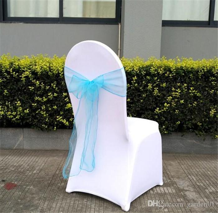 Großhandel Schöne Organzabögen Für Hochzeits Stuhl Schärpe Für Wed Ereignisse Liefert Partei Dekoration Stuhl Abdeckungs Schärpe Verschiedene Farben,