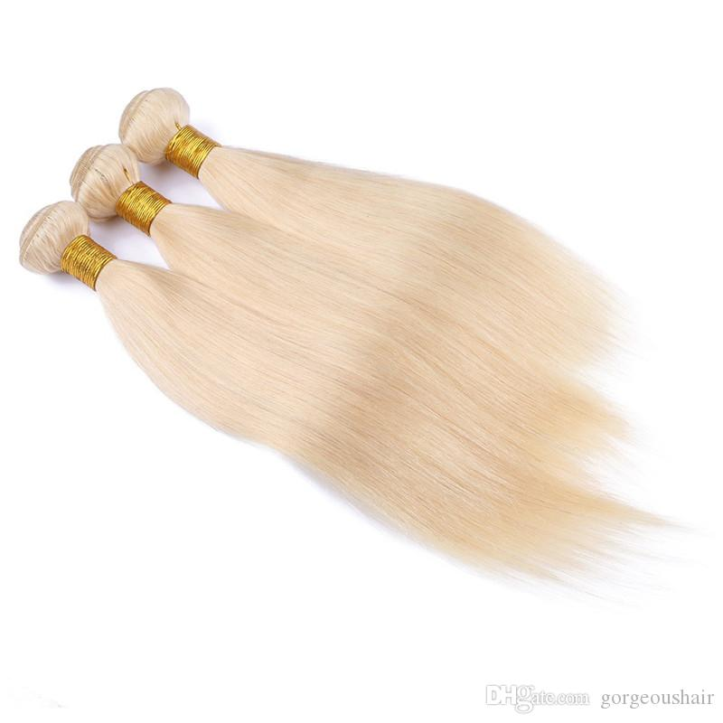 613 Blonde Virgin Hair 8A Blonde Brazilian Virgin Hair Straight 3PcsLot Brazilian Virgin Cheap Human Hair Weave Bundles