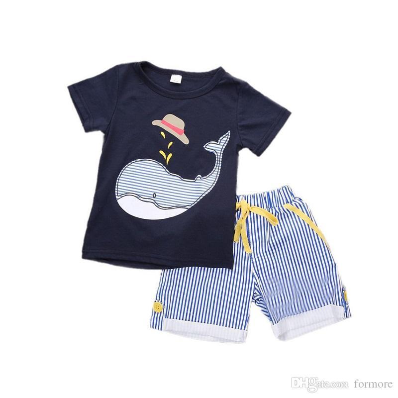 Bébé Boutique Vêtements Été Toddler Survêtement Enfants Enfants Vêtements Set Sport Suit Infant Sunsuit 2pcs Bébé Outfit Cool Garçons Chemise Shorts