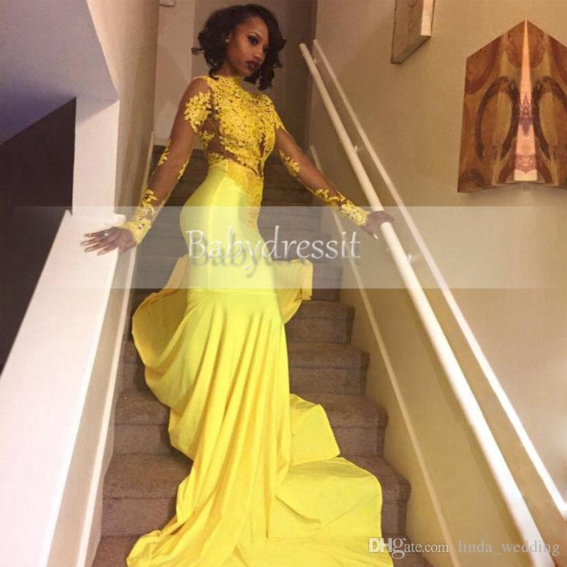 Compre 2019 Pretty Yellow African Lace Appliqued South African Prom Dress Mermaid Long Sleeve Banquet Evening Party Gown Custom Made Plus Size A