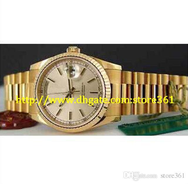 store361 новые приходят 36 мм мужские 18kt золото президент Серебряный циферблат 118238
