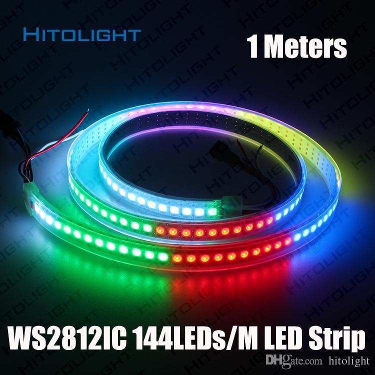 HITOLIGHT 1Meter DC5V 개별 주소 지정 가능 WS2812B LED 스트립 라이트 화이트 / 블랙 PCB 144LED / m 스마트 RGB 2812 LED 테이프 리본 방수
