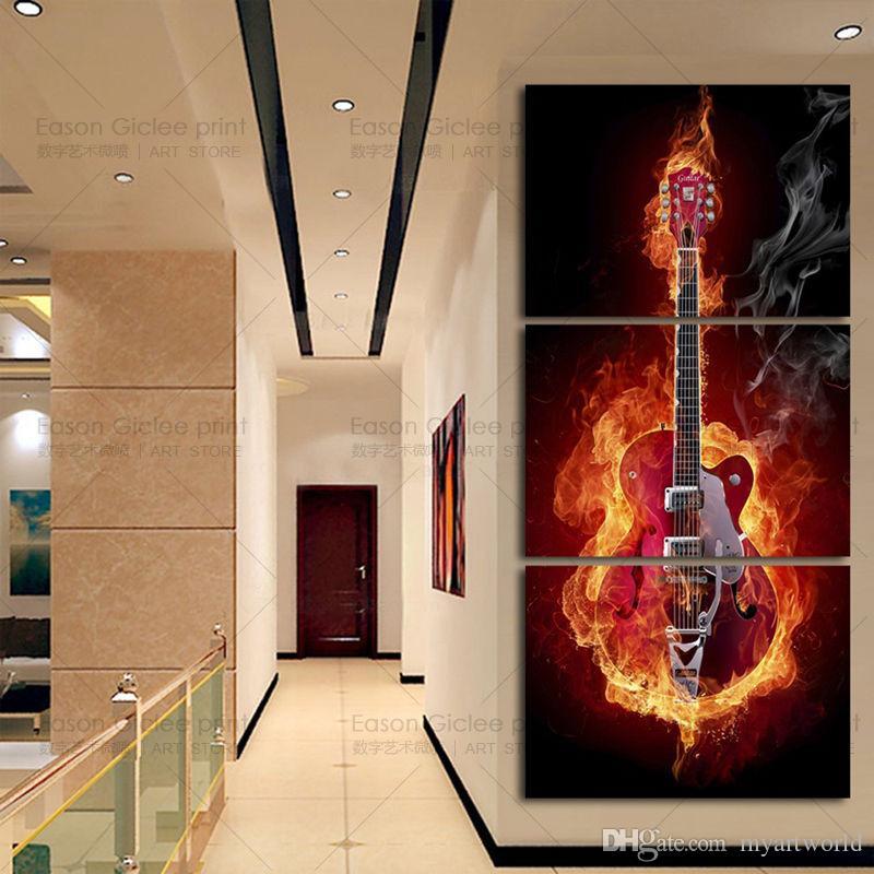 Encadré 3PCS guitare musique photo, peint à la main contemporain abstrait mur décor Art peinture à l'huile sur toile.Multi tailles Ab071