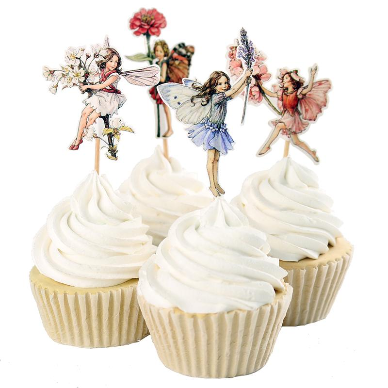 Wholesale-48pcs Flower Fairy Cupcake Toppers Picks for Birthday Decorations New Year Easter Halloween Party Cake Decoration Favor