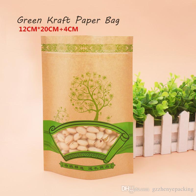 12 * 20 + 4cm Sacchetto di carta kraft verde Auto-sigillante Riutilizzabile Confezionamento alimentare Conservato in confezioni alimentari Spot 100 / confezione