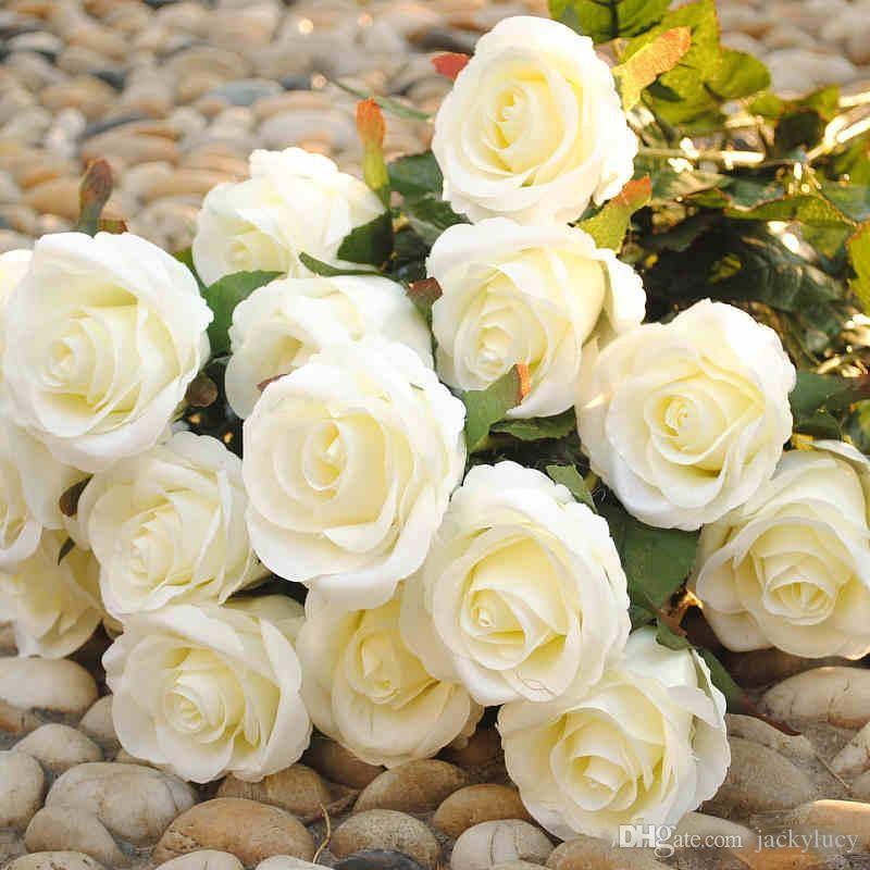 Yeni Stiller Yapay Gül İpek Zanaat Çiçekler Gerçek Dokunmatik Çiçekler Düğün Noel Odası Dekorasyon Için 10 Renk Ucuz Satış