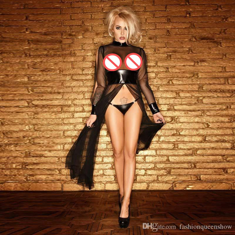 Stylish Women See Through Mesh Split Long Dress Sexy Patchwork Nightwear Gothic Lingerie Temptation Costume Size S-XXL