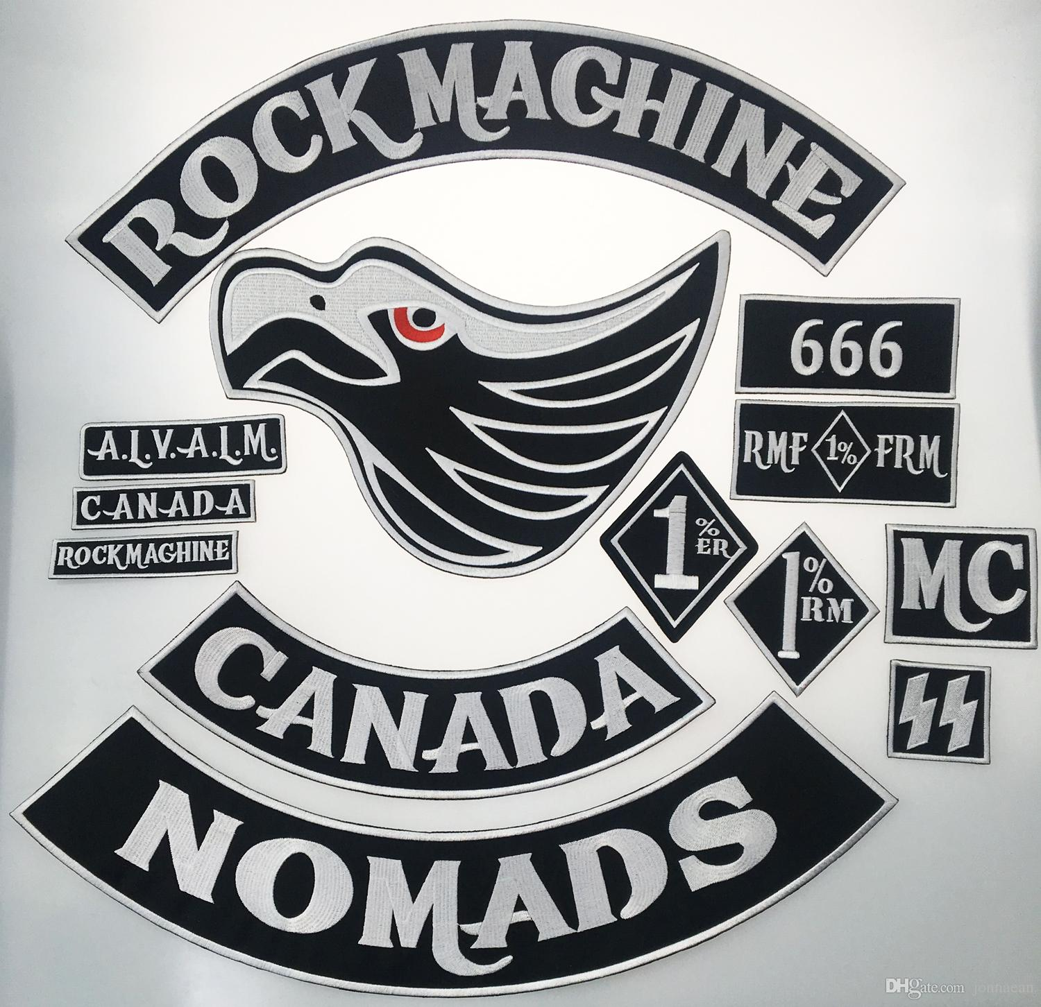Rocker Patches Nomad Black /& White Embroidered Rocker Patch