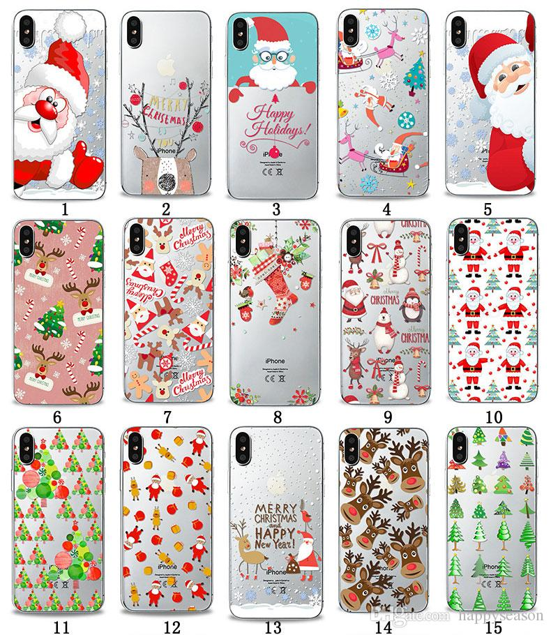 Christmas Iphone X Case.Christmas Phone Case For Iphone X 8 7 6 5 Plus Santa Claus Elk Silicone Back Cover Fashion Cell Phone Cases Glitter Cell Phone Cases From Happyseason