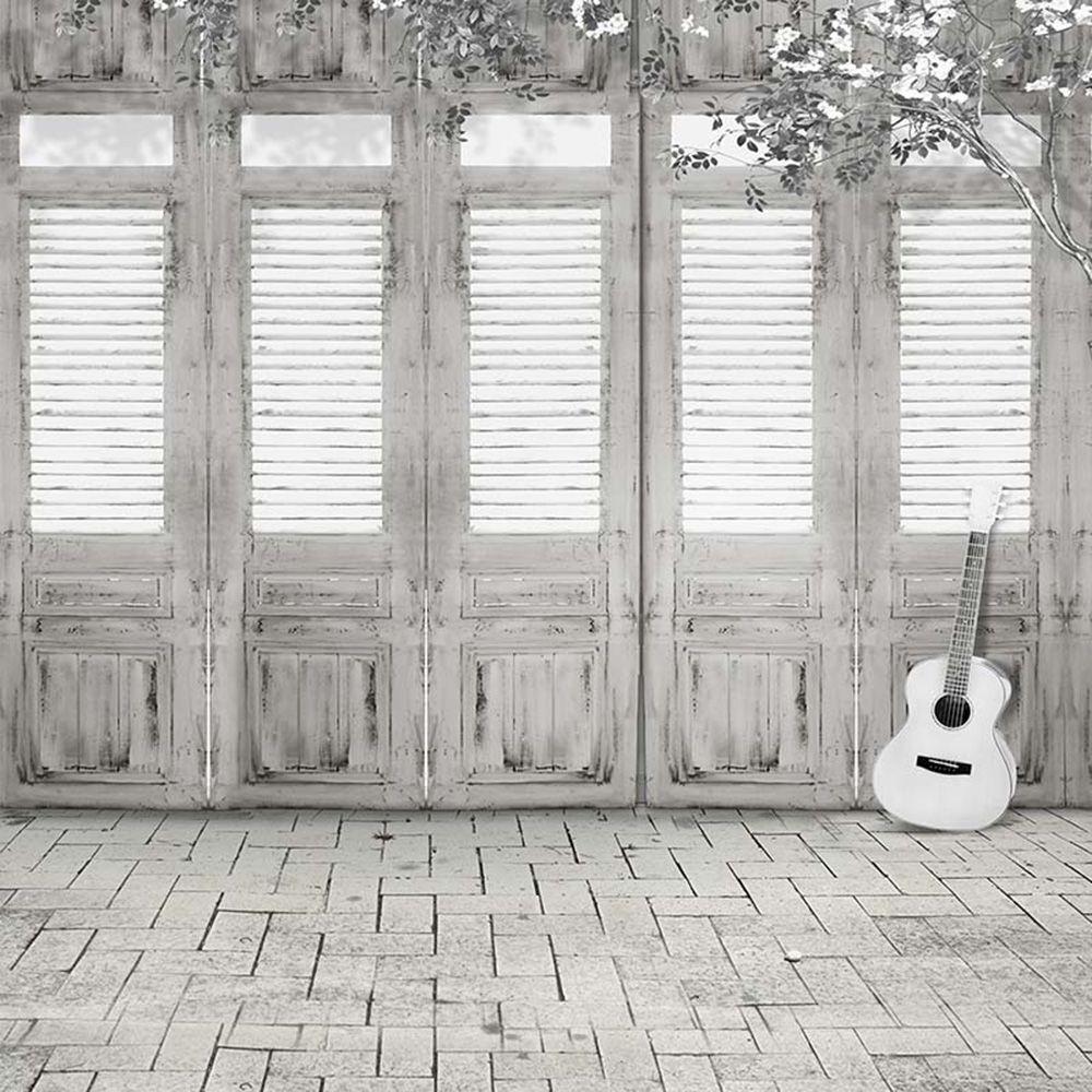 رمادي أبيض خشبي باب صورة خلفية الفينيل القماش gitar الطوب الطابق أطفال الأطفال التصوير خلفية خمر الوليد ستوديو بوث الدعائم