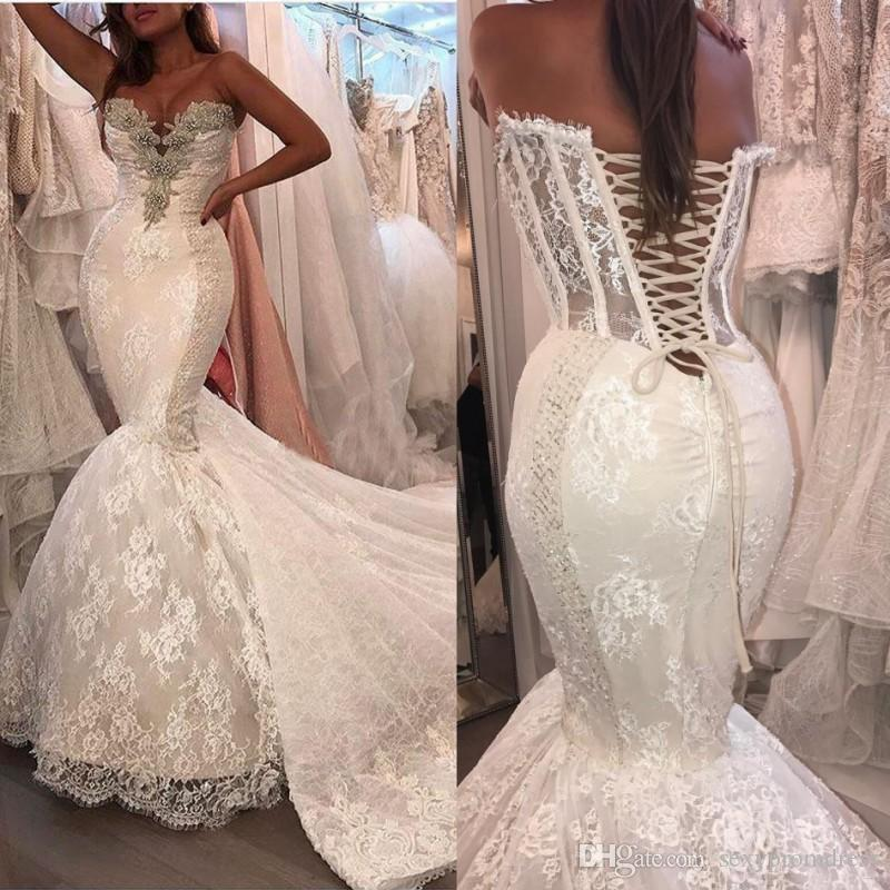 Lace Mermaid Wedding Dresses Crystals Beaded Sweetheart Corset Back Bridal  Gowns Lace Up Floor Length Exposed Boning Wedding Dress Satin Mermaid