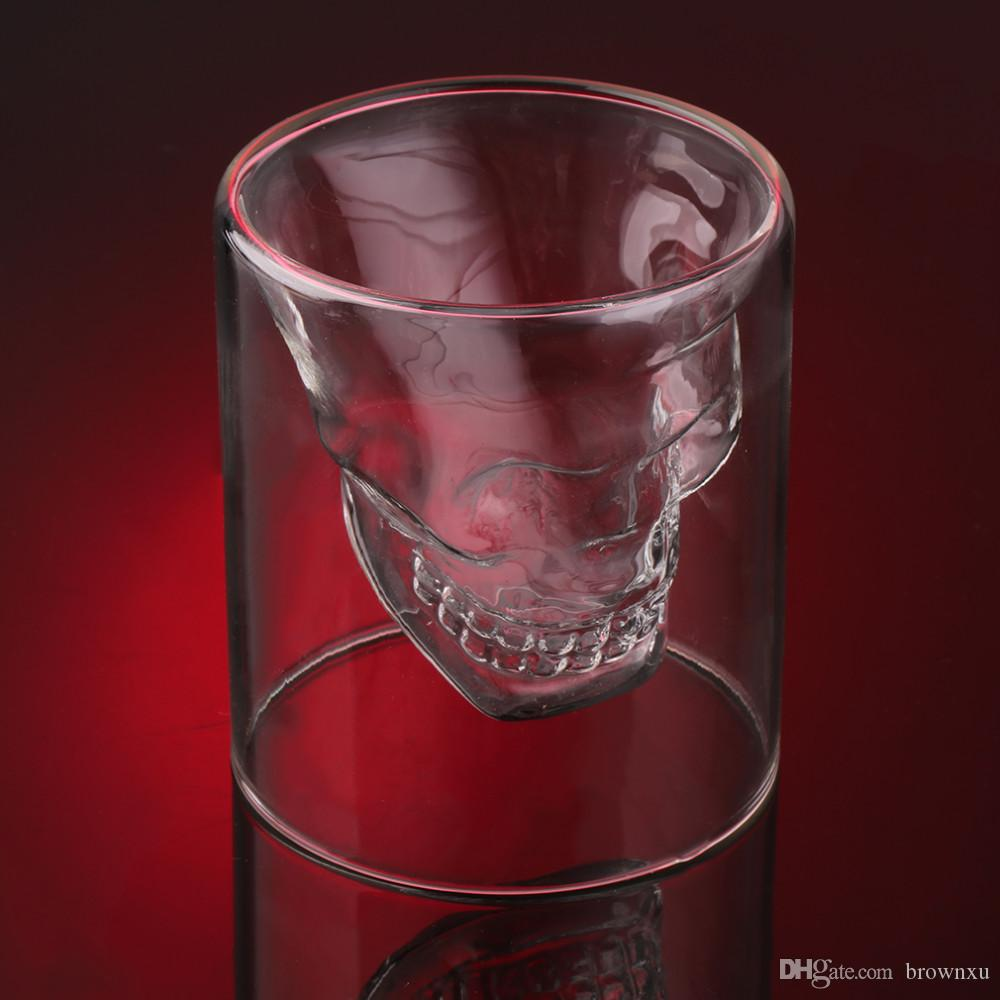2017 New Shot Glass Skull Head Cup Crystal Ware Cup Beer Wine ...