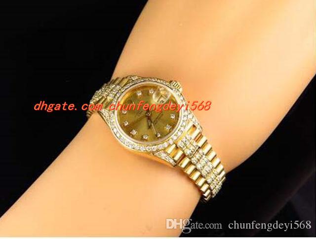 Mode de luxe Montre-bracelet Excellente Mesdames 27MM Montre en or jaune 18 carats de diamants Montre Automatique Montres