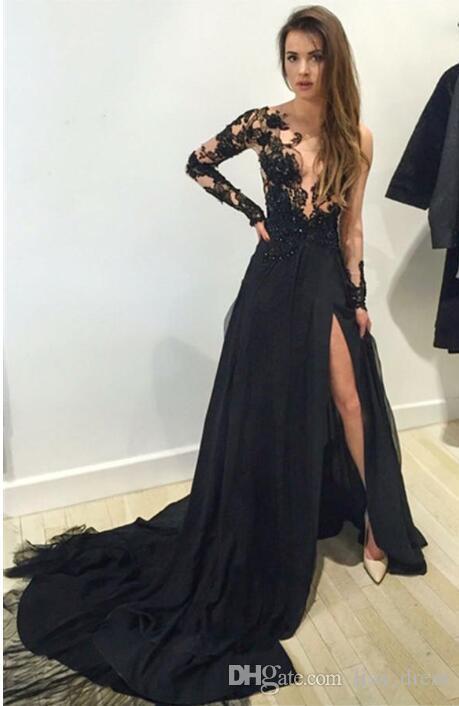 2017 Elie Saab Nueva Sexy mangas largas negro Split longitud del piso Vestidos de noche Illusion encaje Top con cuentas de gasa fiesta vestidos de baile