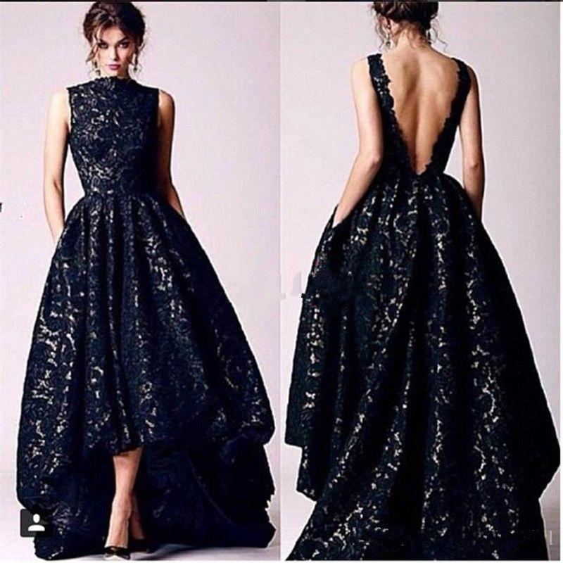 Vestidos de fiesta de encaje de Ah Lo Black negro Vintage Vestidos de fiesta formal de fiesta de cuello alto sin respaldo Vintage 2017