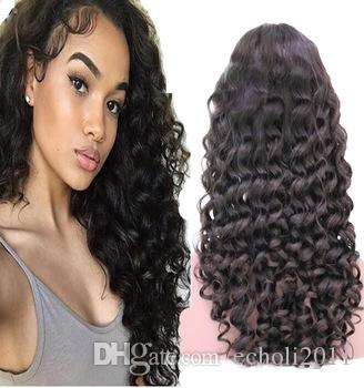 new loose curl Human Hair Wigs Bleached Knots Full Lace Wigs Brazilian Malaysian Medium Size Swiss Lace Cap Lace Front Wigs 150% density