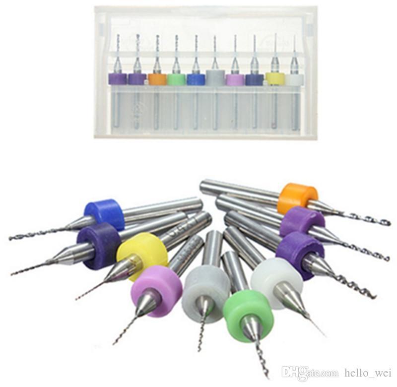 10pcs / ensemble outil de forage mini-foret hélicoïdal pcb CNC ensemble de bijoux travail outils rotatifs 0.3mm à 1.2mm tungstène outils à main