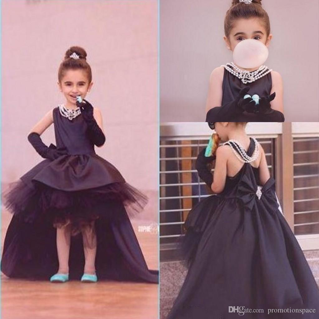 2017 Arabisch High Low Blume Mädchen Kleider Schwarz Ballkleid Satin Tüll Tutu Kleid Geburtstag Pageant Kleider für Kleines Mädchen