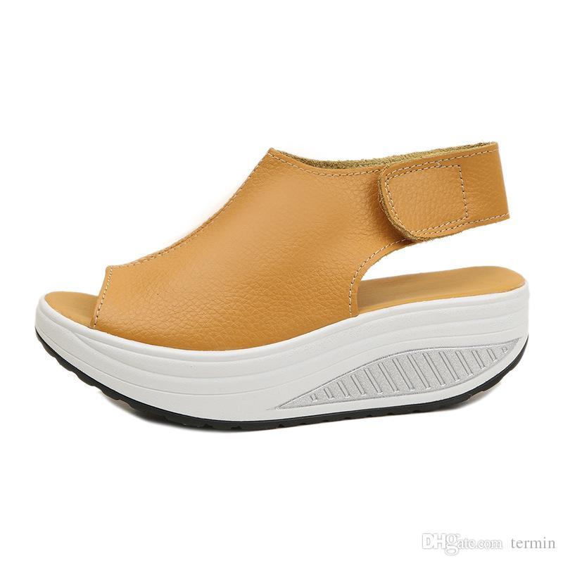 الصنادل الصيفية المرأة يهز أحذية سميكة الأوتاد المنحدر منصة رئيس الصنادل الجلدية المرأة كعب سميك أسفل hegt الأحذية. MQSS-013