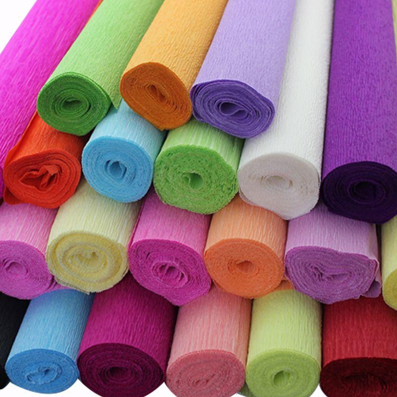 250 * 50cm decorativo Origami increspato del mestiere di carta Crepe fai da te Fiore involucro Fold scrapbooking regali del partito decorazione boda Garland