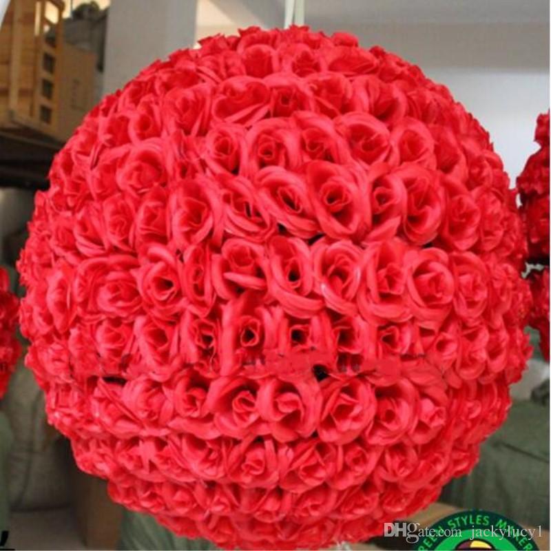 """60 CM 24 """"Künstliche Verschlüsselung Rose Seidenblume Kissing Balls Große Größe Für Weihnachtsschmuck Hochzeit Dekorationen 10 Farbe"""