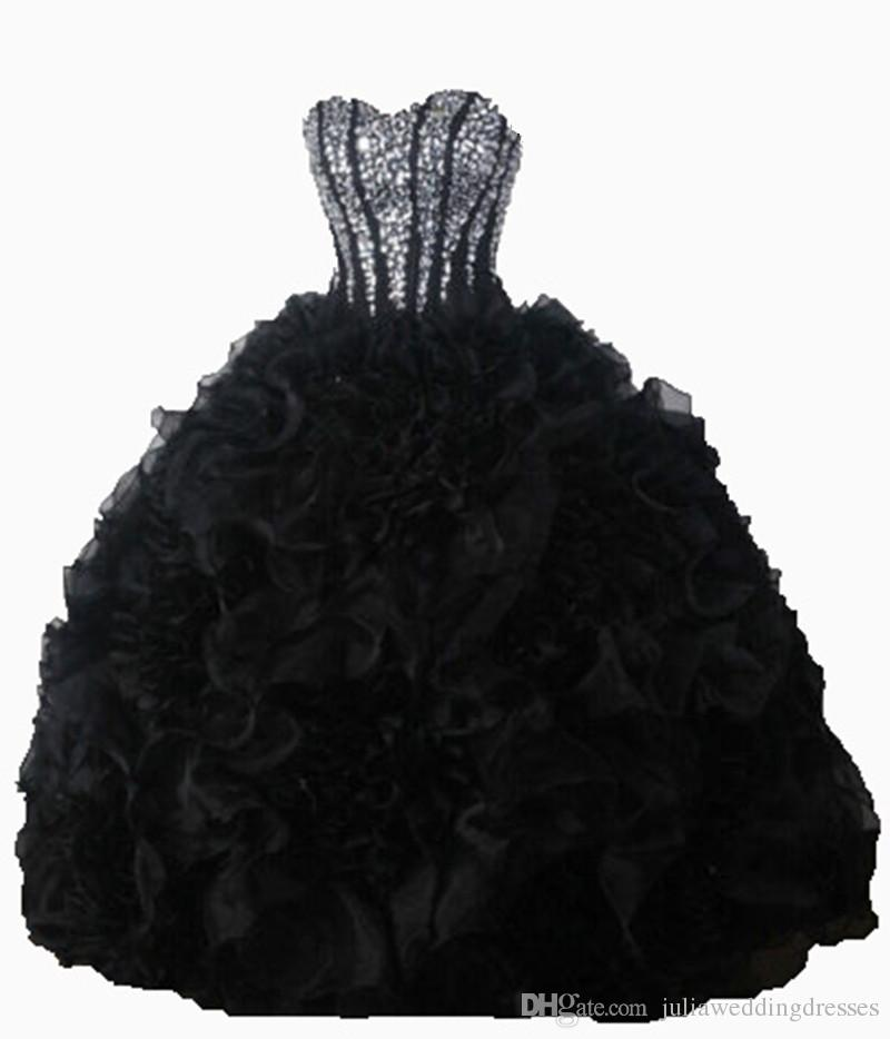 2017 Sexy Black Crystal Ball Gown Quinceanera Dresses with Sequined Beading Organza Plus Size Sweet 16 Dresses Vestido Debutante Gowns BQ31
