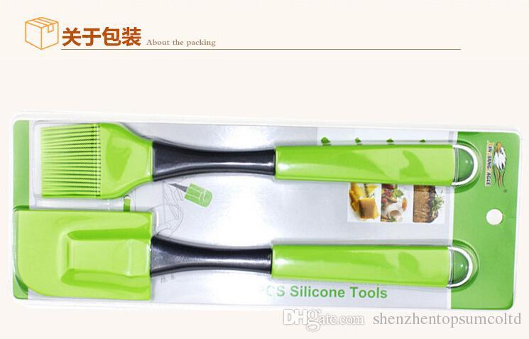 Grau alimentício 2 pçs / set creme de silicone espátula escova de creme escova de óleo de cozinha raspador de manteiga de silicone