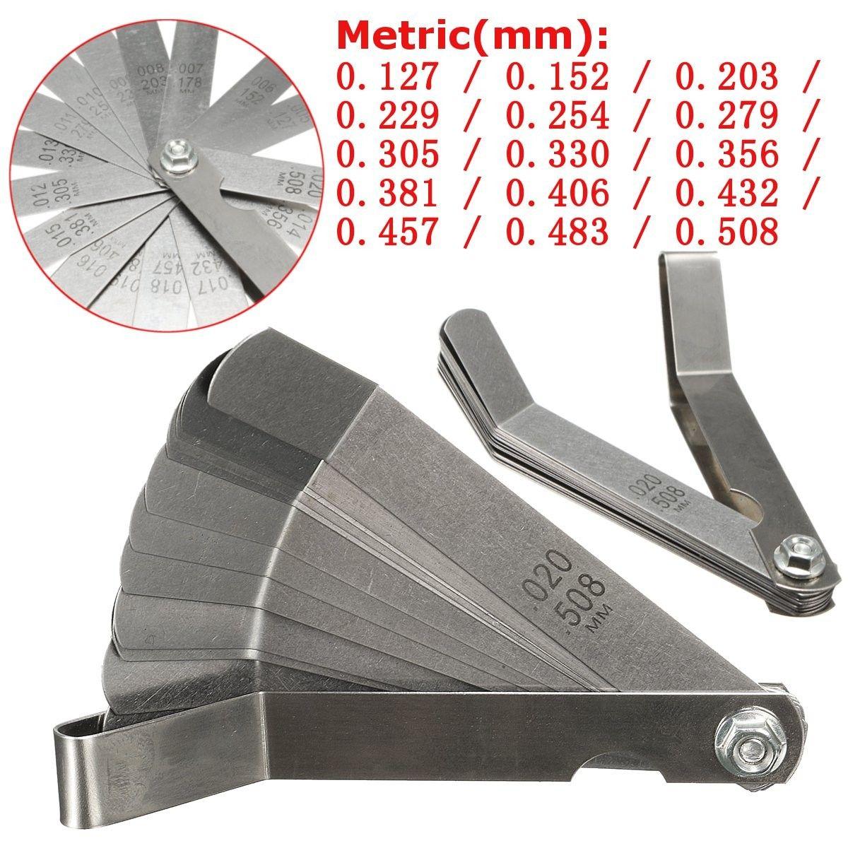 US STOCK Stainless steel Metric 0.127-0.508mm Valve Offset Feeler Gauge 16Blades