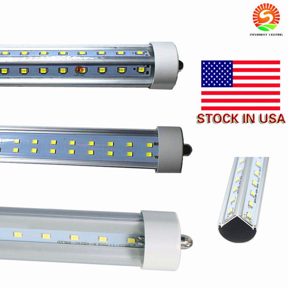 Linhas stock Em US + Duplo 72W 8 pés T8 tubos único pino FA8 8 pés tubo Luzes LED T8 LED tubo fluorescente 85-265V