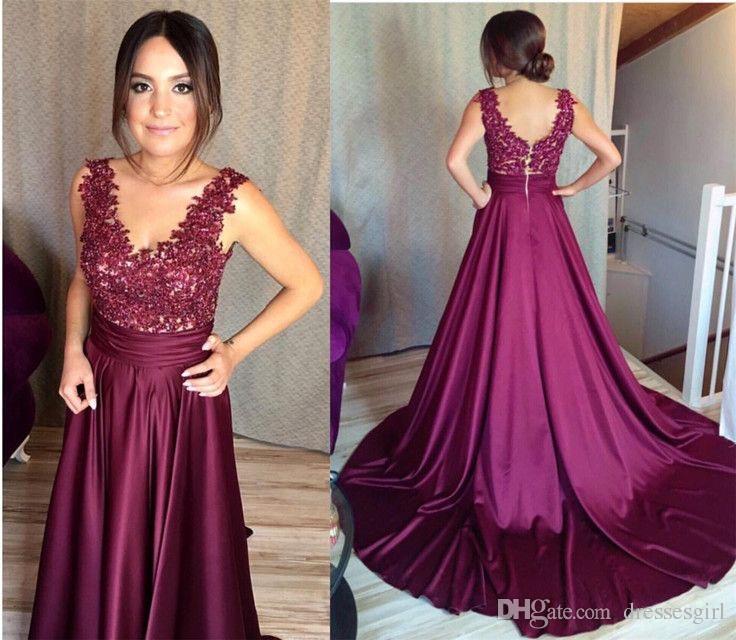 Compre Elegantes Vestidos Largos De Uva Vestidos De Noche Una Línea Corte De Tren Con Cuello En V Vestidos De Fiesta Formales Vestidos Especiales Para