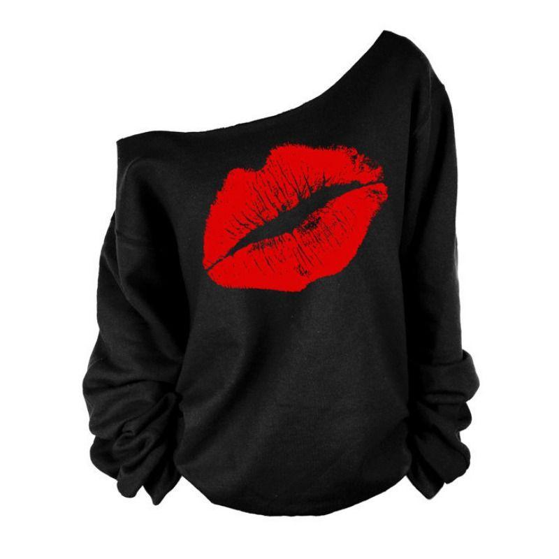 Wholesale- Frauen Langarm Big Lippen weg von der Schulter-T-Shirt Top Oberbekleidung Kleidung