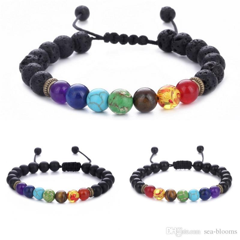 7 Chakra Bracelet Men Women Black Lava Healing Balance Reiki Prayer Natural Stone Beads Yoga Strand Aroma Bracelets Adjustable Rope B739S