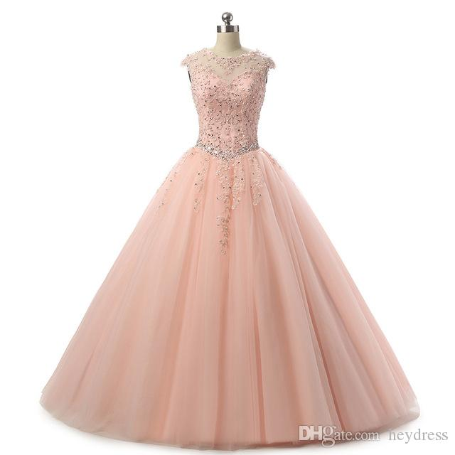 Blush Pink Quinceanera Dresses Ball Gown 2017 Beaded Tulle Floor Length Pageant Gowns For Girls Special Occasion Prom Dress Quinceanera Pictures Shop