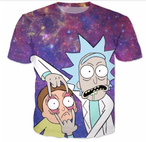 de434ec7e Psychedelic Galaxy Rick and Morty T-Shirt Summer Style Fashion Tops Graphic  Tee Women Men