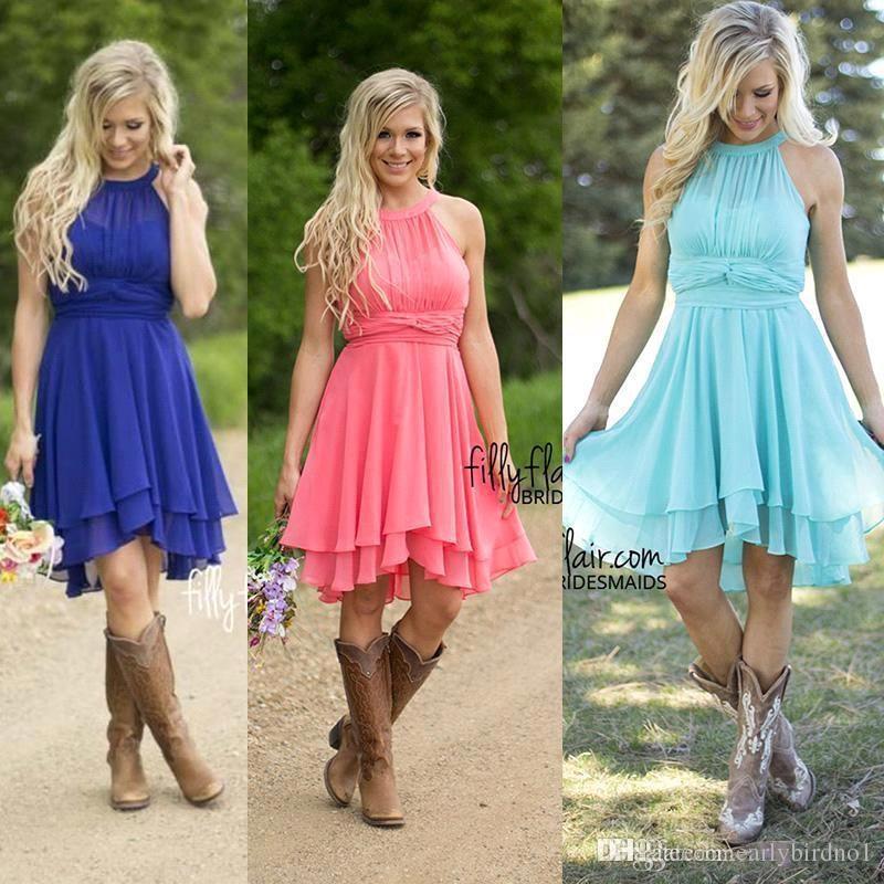 $ 59 컨트리 스타일의 들러리 드레스 2017 Halter Neck Blue 짧은 하녀 명예 가운 무릎 길이 주니어 신부 들러리 드레스 CPS575