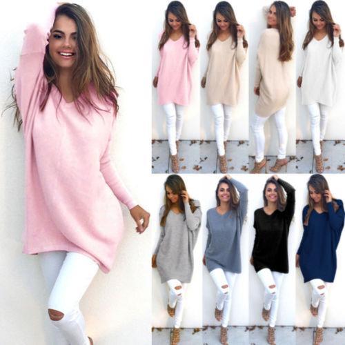 All'ingrosso delle nuove donne signore V-collo maglioni caldi casual Maglione ponticello Tops Outwear