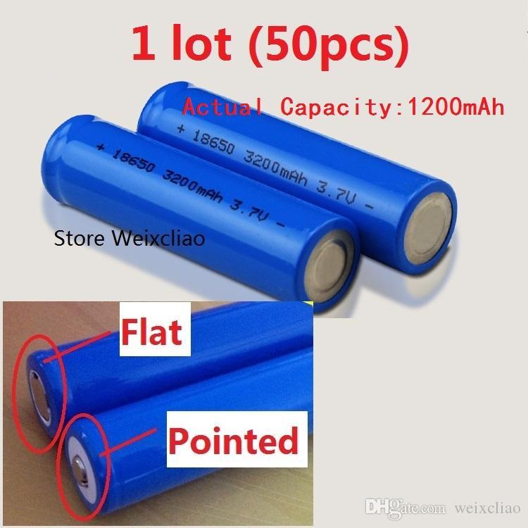 50 قطع 1 وحدة 18650 3.7 فولت 1200 مللي أمبير بطارية ليثيوم أيون قابلة 3.7 فولت بطاريات ليثيوم أيون لوحة لوحة مسطحة أو مدببة مجانية