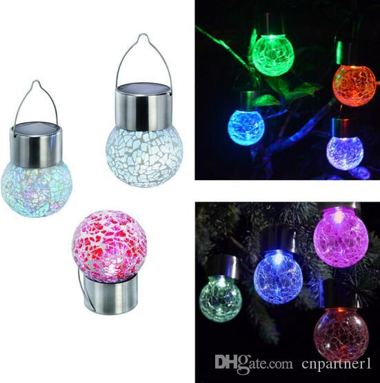 4pcs /lot Led light ball Crackle Glass LED warm/ Color Light Solar Powered Color Changing outdoor Hang Garden Lawn Lamp Yard Decorate Lamp
