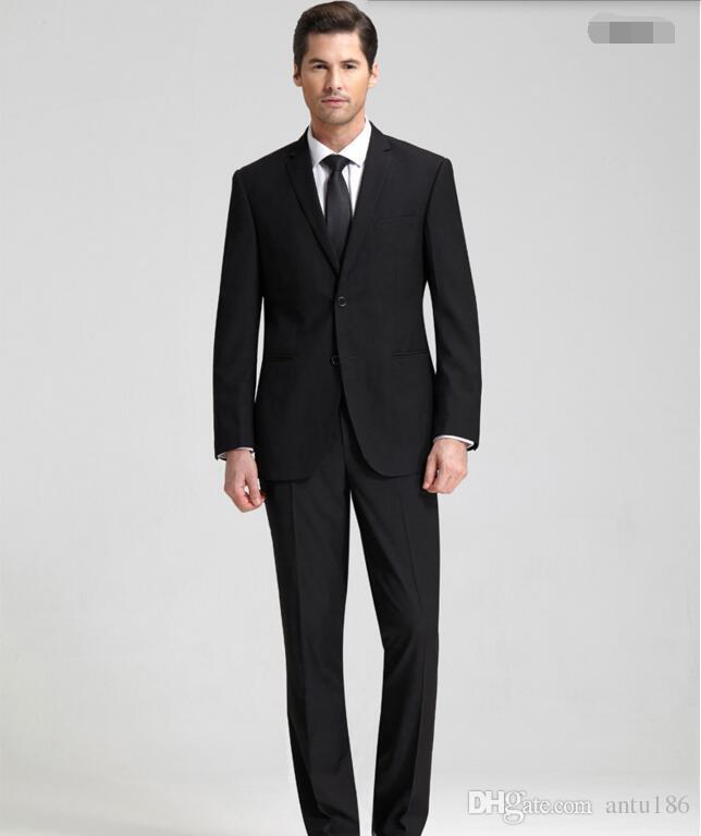 Özel yapılmış erkekler takım elbise moda erkekler düğün smokin siyah yaka damat takım elbise sağdıç smokin suit (ceket + pantolon)