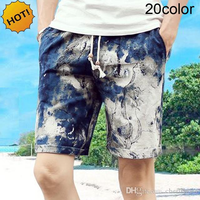 Summer Style 2017 Outdoor Beach Board Shorts Uomo Allentato Colore stampato Coulisse 100% Cotone Short Plus Taglia M-4XL 20 colori